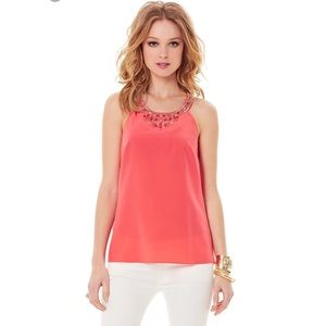 Lilly Pulitzer Corsica Beaded Top Pink Tomato